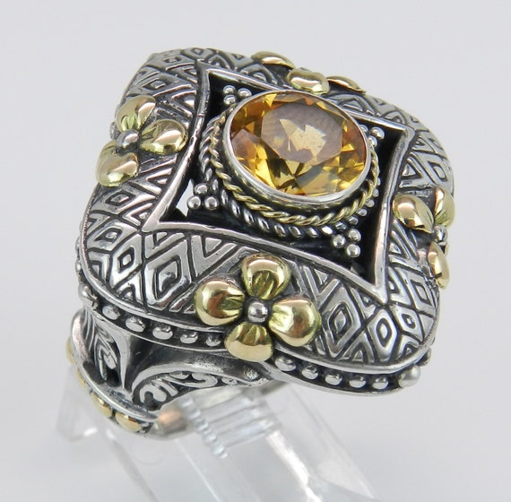 SALE Round Citrine Large Ladies Ring Sterling Silver 18K Yellow Gold Antique Finish