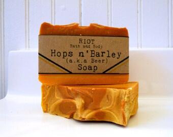 Hops n' Barley (aka Beer) Soap bar, All natural, Vegan, and Homemade.