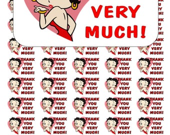 """50 Betty Boop Thank You Very Much! Envelope Seals / Labels / Stickers, 1"""" by 1.5"""""""