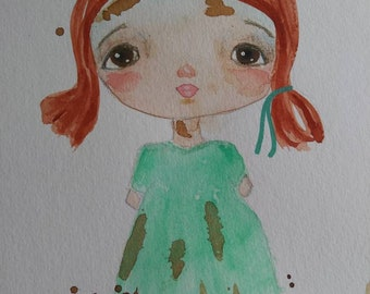 Whimsical girl, watercolor original painting, watercolor art, wall decor