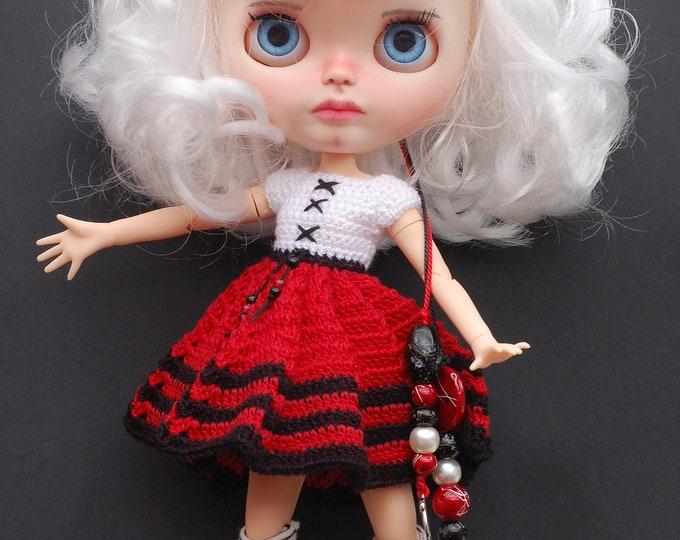 OOAK Custom Blythe doll. Handmade OOAK outfit, boots included.