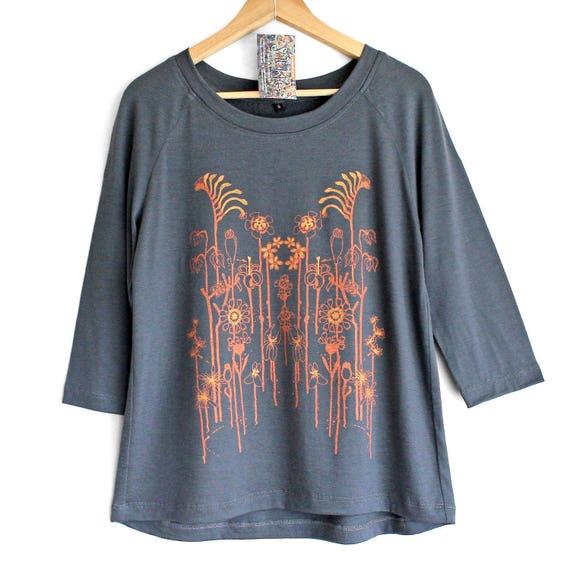 WILDFLOWERS. Merino raglan sweatshirt. 3/4 sleeve merino top. Grey Merino top with copper print. Long sleeve merino sweater