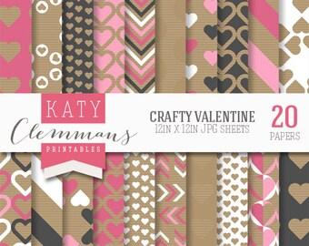 CRAFTY VALENTINE digital paper pack, printable love heart patterns for DIY craft & scrapbooking - instant download.