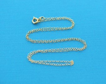 "Gold Filled Cable Link Necklace chain, finished, 18"", 1.5mm oval soldered links, clasp, pmg0002"