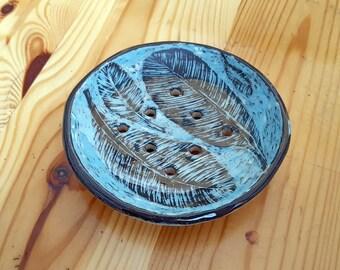 Ceramic soap dish Stoneware Soap holder Pottery soap dish Soap dish Bathroom decor Sgraffito pottery Sgraffito Sponge holder For mom