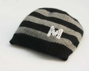 Simple striped kids knit hat - Initial baby hat - Customizible children hat - Toddler knit hat - Boys knit hat - Kids hat