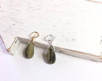 Green Kyanite dangle, gift for her,necklace dangle necklace add on, Kyanite pendant, green kyanite, kyanite pendant, kyanite teardrop