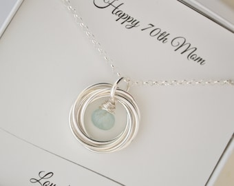 70th Birthday gift for mom, 7 Interlocking rings, March birthstone necklace, Gift for mom and grandmother necklace, Aquamarine necklace
