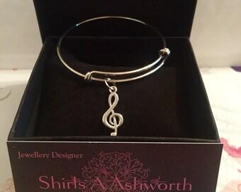 Silver  Treble Clef Bracelet