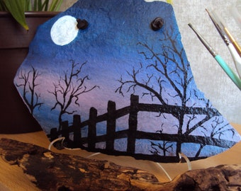 Fence Silhouette, gift, painted slate, Mother's Day,