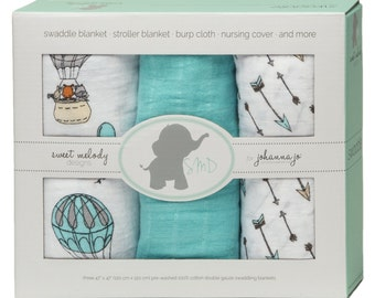 Swaddle Blankets -- Baby Blankets -- Woodland Blanket -- Woodland Away We Go -- Pack of 3 -- Hot Air Balloons and Arrows -- Baby Shower Gift