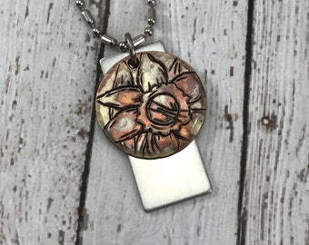 Daffodil Floral Hand Stamped Necklace - Nature, flowers, spring, copper and stainless steel