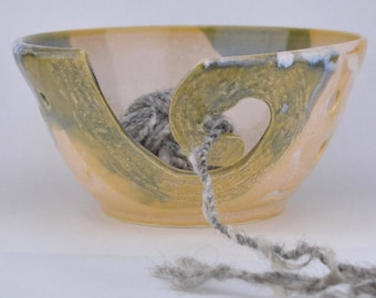 Yarn bowl, knitting bowl ceramic, ceramic yarn bowl, yarn bowl pottery, yarn bowl crochet, yarn organizer, home and living yellow yarn bowl.
