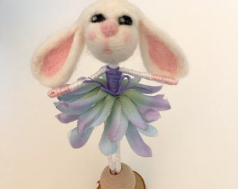Chloe, a needle felted Bunny bendy doll with free shipping