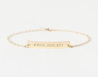 Personalised bar bracelet - gold nameplate bracelet - personalised silver bracelet - wedding gift - custom name bar bracelet