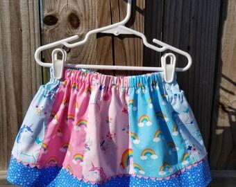 Blue Unicorn toddler big kid front back reversible play skirt pocket