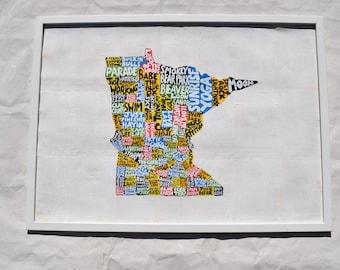 Minnesota Map Wall Art | MN poster | acrylic painting | home decor, map of Minnesota