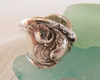 Antique Spoon Ring  Sterling Silver  Size 7 and a half
