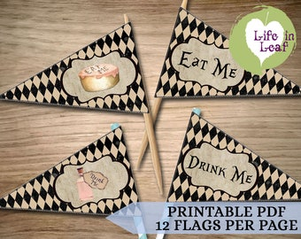 "Alice in Wonderland ""Eat Me/Drink Me"" Cupcake & Straw Flags Bundle ~ INSTANT DOWNLOAD"