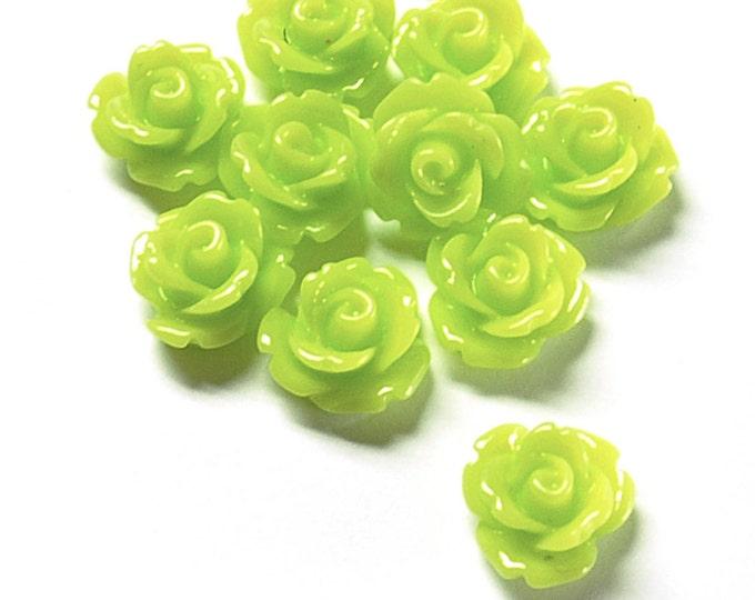 CLOSEOUT - Resin Cabochon, Rose 10mm, Lemon Lime - 50 Pieces (RSCRS-10LL)
