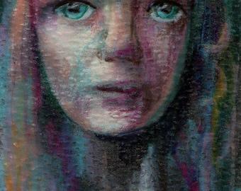 original art  aceo drawing abstract girl