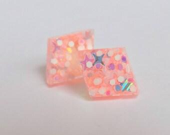 Diamond Shaped Pink Glitter Stud Earrings, Post Earrings, Shimmer, Glitter Jewelry, Jeweller, Sparkle, Glittery, Accessories, Gift for her