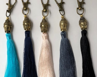 Buddha Head Tassel Keychain & Purse Charm (Choose Color)
