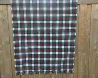 Vintage Blanket Plaid 100% Wool Lands End Coming Home Bed Throw Sports Stadium Fringe Poncho cabin red blue green yellow white Wedding gift
