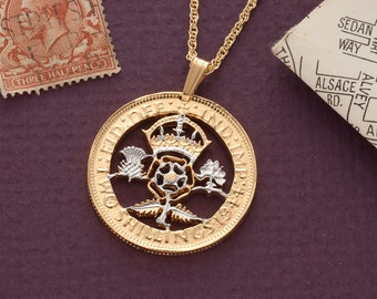 "Great Britian Pendant and Necklace, British Florin Coin Hand Cut, 14 Karat Gold and Rhodim plated, 1 1/8"" in Diameter, ( # 885 )"