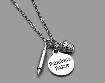 Baker Charm Necklace, Baking Necklace, Love To Bake, Baking Jewelry, Baking Charm, Fabulous Baker, Cook Charm, Chef Charm, Stainless Steel