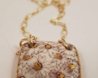 Porcelain pendant necklace. GOLD lustre. 14 kt GF chain/findings. Reversible art nouveau inspired images.