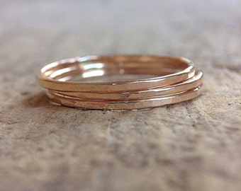 3 Gold Stacking Rings, 14k Gold Filled Rings, Set of 3, Stackable Rings, Skinny Rings, Ring Stack, Boho Ring, Bohemian Jewelry