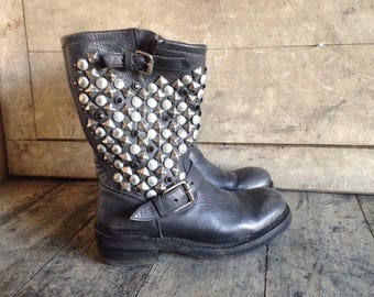 ASH, biker boots, black leather, studs, diamante, buckles, heavy duty, good quality