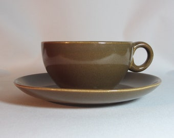 Russel Wright Iroquois Cup and Saucer in Nutmeg Brown