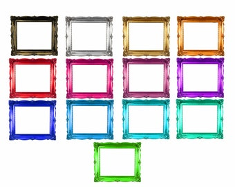 Clip art frames. Digital picture frames, digital frame clip art, 13 antique frames includes gold digital frame