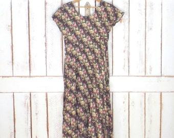 90s vintage black/tan/green floral maxi dress/1990s grunge long floral dress