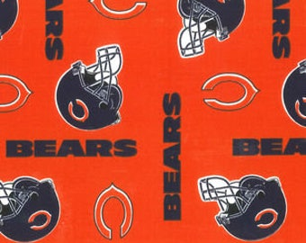 Chicago Bears Football, NFL Fabric, Orange & Blue Bears Fabric, 100% Cotton Broadcloth Fabric