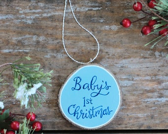 Baby's First Christmas Ornament, Personalized Ornament, Baby Boy Ornament, Wood Slice Ornament, Hand Painted Ornament, Gift for Baby Boy