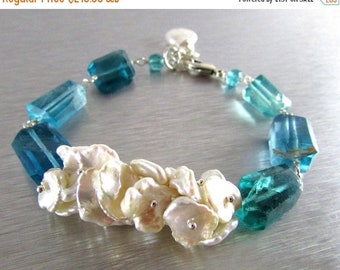 15 Off Keishi Pearl and Fluorite Nugget Sterling Silver Bracelet