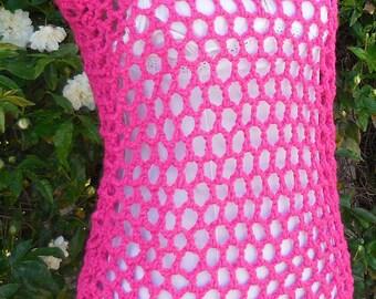 Shocking Pink Rose Crochet Top
