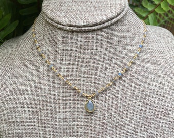 """Labradorite Collection/ Beaded Labradorite Stone Necklace/16"""""""