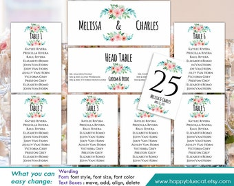 DiY Printable Wedding Seating Chart Template - Instant Download - EDITABLE TEXT - Rustic Watercolor Floral - Microsoft® Word Format HBC31n