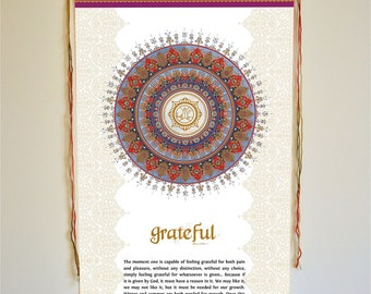 grateful, wall art, trust, thankful, divine, bliss, gratitude, inspirational quote, yoga art, meditation gifts, meditation altar, osho, yoga