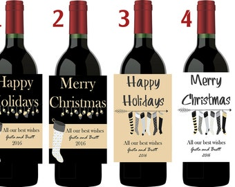 Christmas Wine Labels, Holiday Wine labels Personalized Wine Labels, Photo Wine Labels, Christmas Photo wine labels,  Set of 10