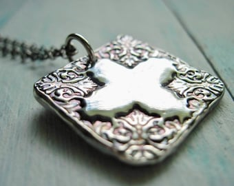 Fine Silver Ornate Cross Necklace