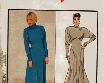Vintage 1986 Style Pattern 4765 PULLOVER KNIT DRESS Dolman Sleeves Misses Sizes 12 14 16