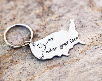USA Keychain, Long Distance Relationship Keychain, USA with Personalized Message