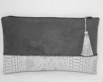 pouch/clutch/evening bag new year/Christmas/wedding/pouch suede/faux python leather