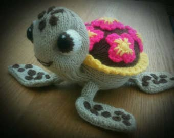 Squirt the Turtle Knitting Pattern for a soft toy - Stash buster