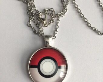 Pokemon Pokeball Cabochon Pendant Necklace-F37